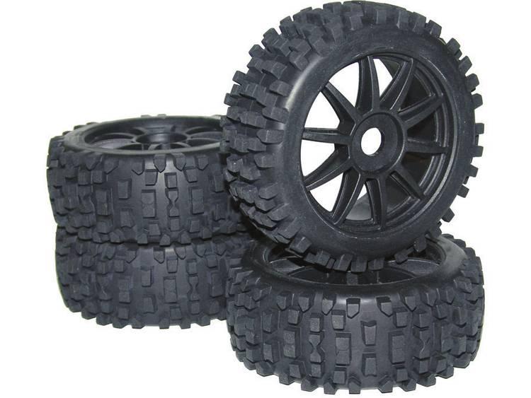 Reely 1:8 Buggy Complete wielen Big Core 10-spaaks Zwart 4 stuks