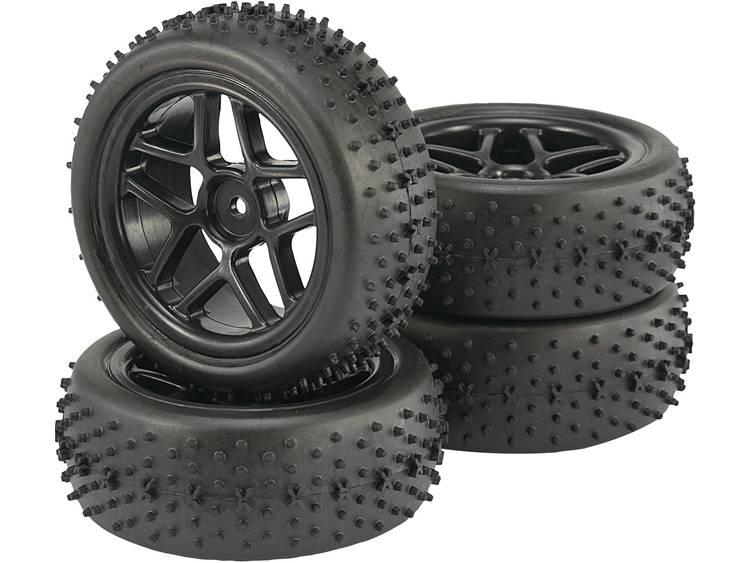 Reely 1:10 Buggy Complete wielen Spike 5-dubbelspaaks Zwart 4 stuks
