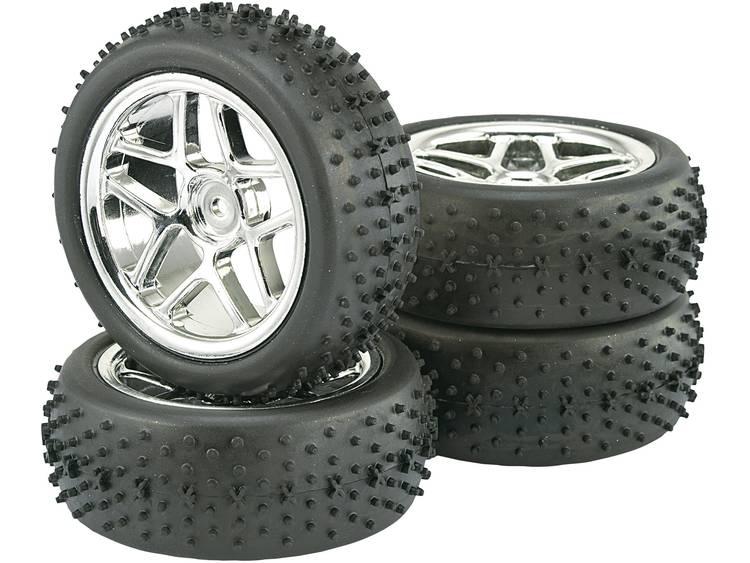 Reely 1:10 Buggy Complete wielen Spike 5-dubbelspaaks Titanium 4 stuks