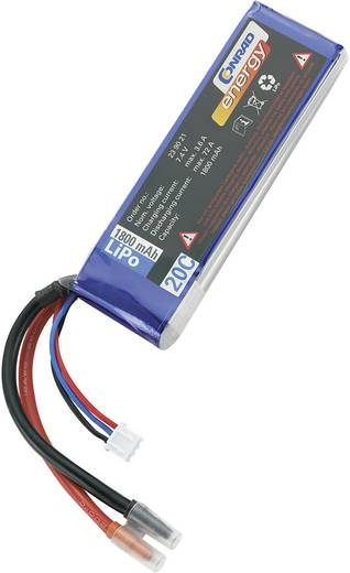 LiPo accupack 7.4 V 1800 mAh 20 C Conrad energy Stick Open kabeleinden