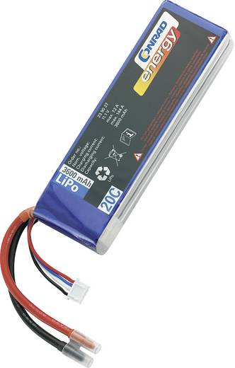 LiPo accupack 11.1 V 3600 mAh 20 C Conrad energy Stick Open kabeleinden