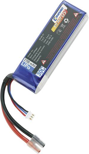 LiPo accupack 7.4 V 2700 mAh 30 C Conrad energy Stick Open kabeleinden