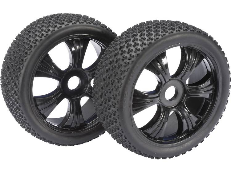 Absima 1:8 Buggy Complete wielen 3-Pin 6-spaaks Zwart 2 stuks