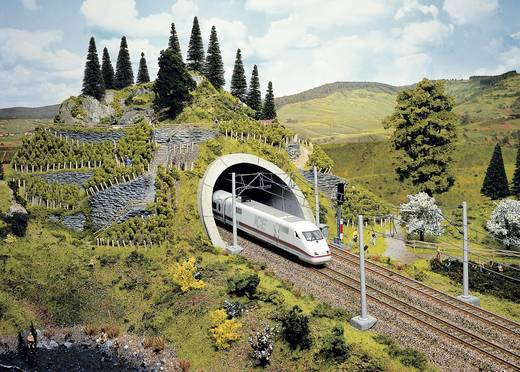 H0 Tunnelportaal PROFI plus 2-sporig Hardschuim model, Geverfd NOCH 58040