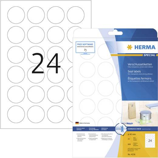 Herma Sluitetiketten, rond 4236 ( Ø 40 mm, Transparant, 600 stuks, Permanent