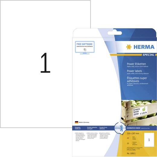 Herma 10911 Etiketten (A4) 210 x 297 mm Papier Wit 25 stuks Permanent Zelfklevende etiketten, Universele etiketten Inkt,