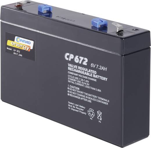 Loodaccu 6 V 7 Ah Conrad energy 250129 Loodvlies (AGM)