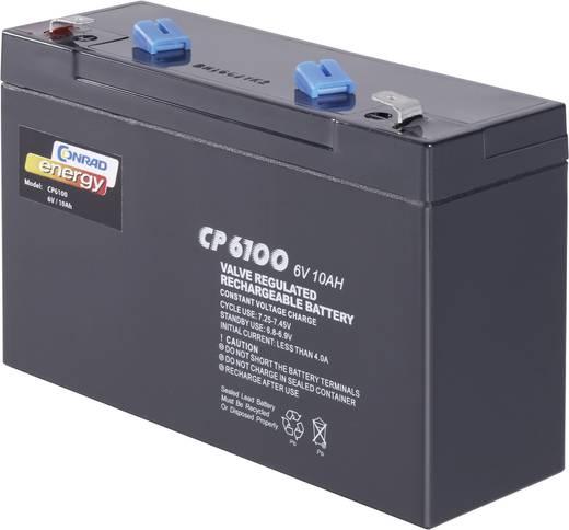 Conrad energy 250141 Loodaccu 6 V 10 Ah CE6V/10Ah Loodvlies (AGM) (b x h x d) 151 x 94 x 50 mm Kabelschoen 6.35 mm Onder