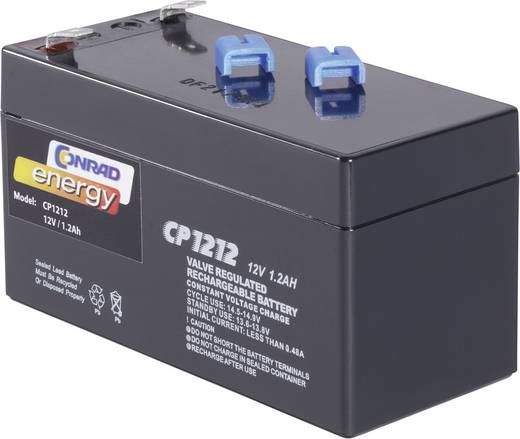 Conrad energy 250165 Loodaccu 12 V 1.2 Ah CE12V/1,2Ah Loodvlies (AGM) (b x h x d) 97 x 52 x 48 mm Kabelschoen 4.8 mm Onderhoudsvrij