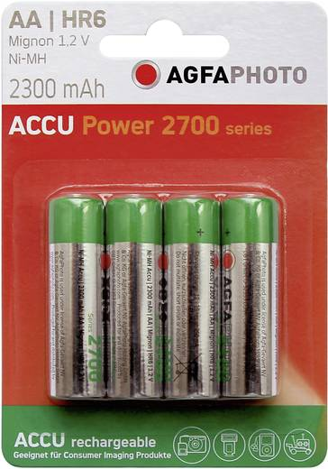AA oplaadbare batterij (penlite) NiMH AgfaPhoto HR06 2300 mAh 1.2 V 4 stuks