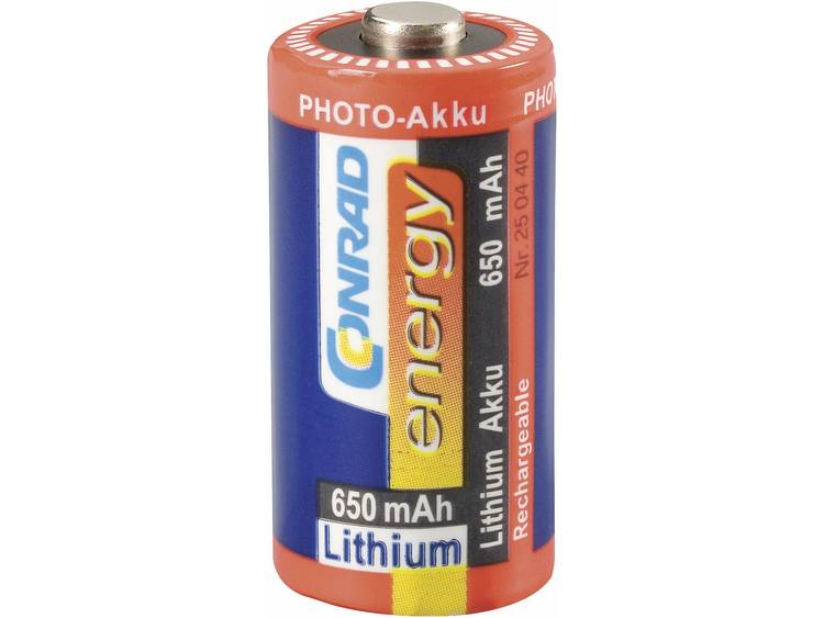 Conrad energy lithiumaccu CR 123, Fotoaccu CR123, 3 V 650 mAh (� x h) 17 mm x 34 mm