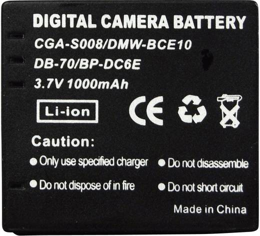 Conrad energy Camera-accu Vervangt originele accu CGA-S008, DP-330, DMW-BCE10, DB-70, BP-DC6E 3.7 V 650 mAh