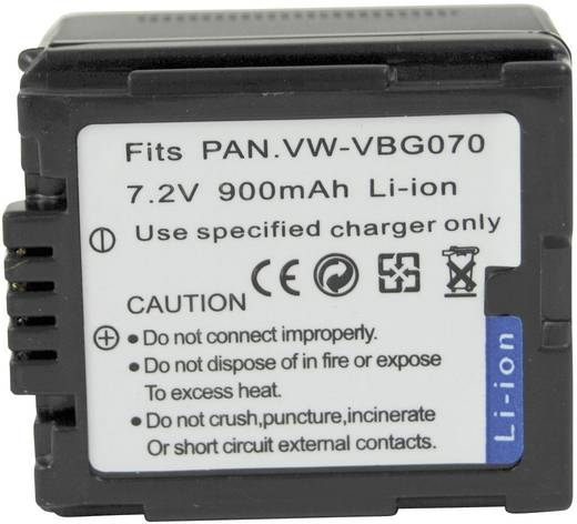 Conrad energy Camera-accu Vervangt originele accu VW-VBG070 7.2 V 900 mAh