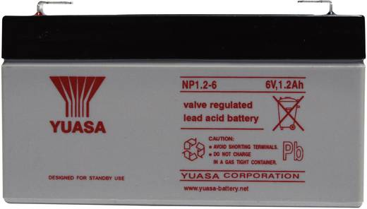 Yuasa NP1.2-6 Loodaccu 6 V 1.2 Ah NP1.2-6 Loodvlies (AGM) (b x h x d) 97 x 55 x 25 mm Kabelschoen 4.8 mm Onderhoudsvrij