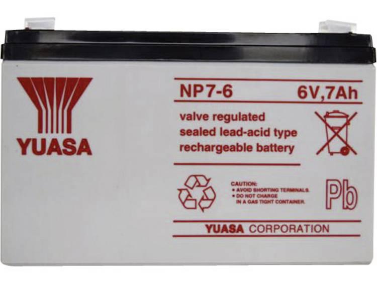 Yuasa NP7-6 Loodaccu 6 V 7 Ah Loodvlies (AGM) (b x h x d) 151 x 97 x 34 mm Kabelschoen 4.8 mm Onderhoudsvrij