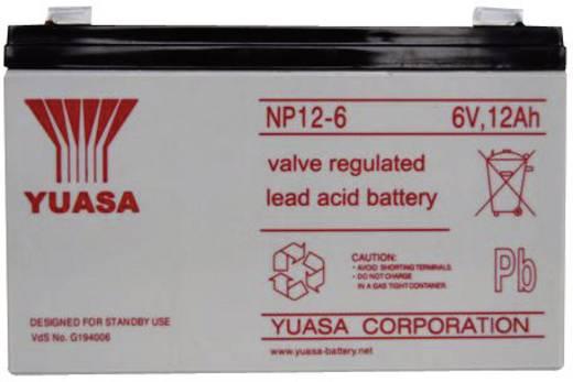 Yuasa NP12-6 Loodaccu 6 V 12 Ah NP12-6 Loodvlies (AGM) (b x h x d) 151 x 98 x 50 mm Kabelschoen 6.35 mm Onderhoudsvrij,
