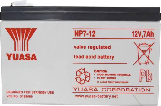 Yuasa NP7-12 Loodaccu 12 V 7 Ah NP7-12 Loodvlies (AGM) (b x h x d) 151 x 98 x 65 mm Kabelschoen 4.8 mm Onderhoudsvrij, VDS-certificering