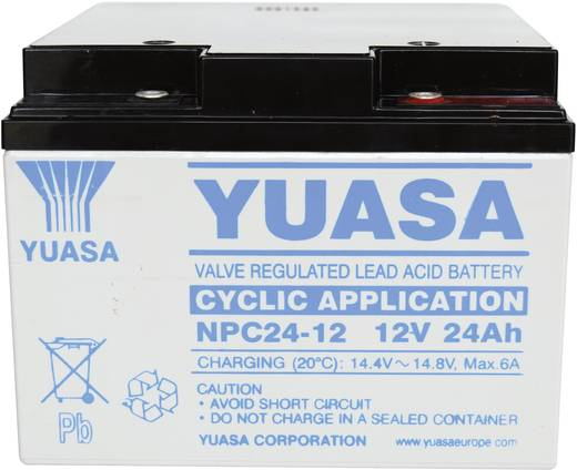 Yuasa NPC24-12 Loodaccu 12 V 24 Ah NPC24-12 Loodvlies (AGM) (b x h x d) 175 x 125 x 166 mm M5-schroefaansluiting Onderhoudsvrij, Cyclusbestendig