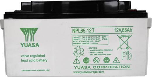 Yuasa NPL65-12 Loodaccu 12 V 65 Ah NPL65-12 Loodvlies (AGM) (b x h x d) 350 x 174 x 166 mm M6-schroefaansluiting Onderho