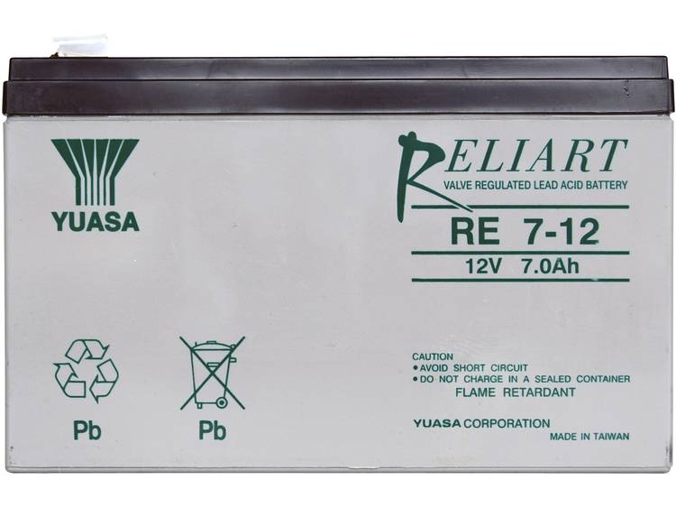 Yuasa RE7-12 Loodaccu 12 V 7 Ah Loodvlies (AGM) Kabelschoen 6.35 mm (b x h x d) 151 x 98 x 65 mm