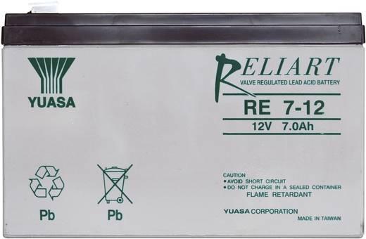 Yuasa RE7-12 Loodaccu 12 V 7 Ah RE7-12 Loodvlies (AGM) (b x h x d) 151 x 98 x 65 mm Kabelschoen 6.35 mm Onderhoudsvrij