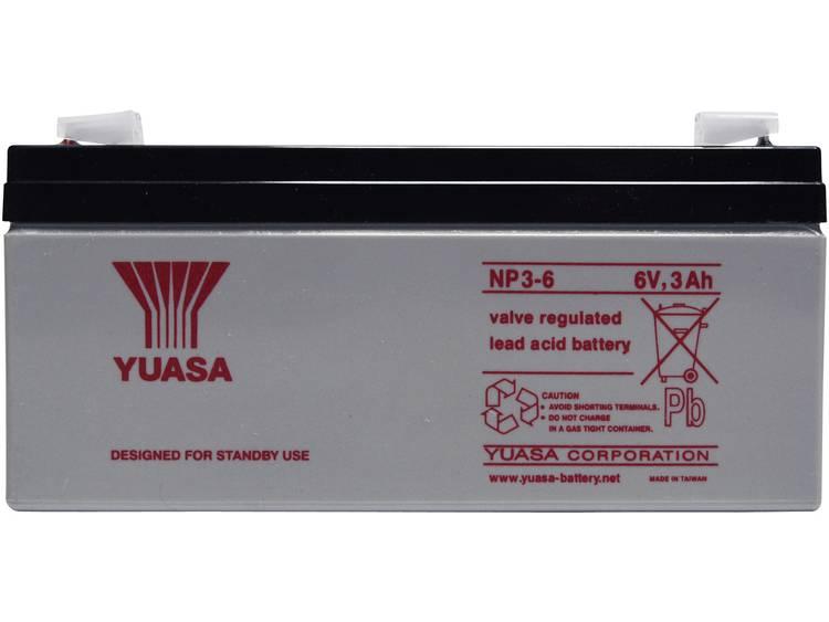 Yuasa NP3-6 Loodaccu 6 V 3 Ah Loodvlies (AGM) (b x h x d) 134 x 64 x 34 mm Kabelschoen 4.8 mm Onderhoudsvrij