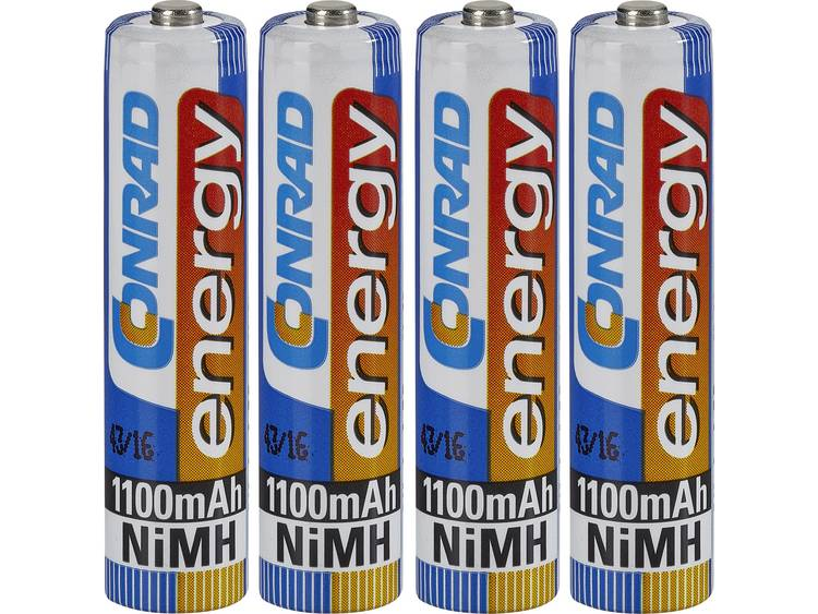 Oplaadbare AAA batterij (potlood) Conrad energy HR03 NiMH 1100 mAh 1.2 V 4 stuk(s)