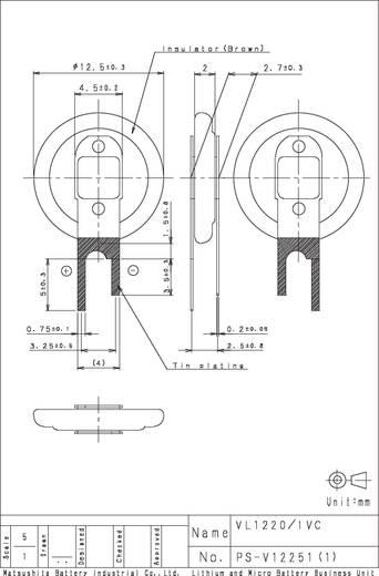 Panasonic VL1220-1VCE Oplaadbare knoopcel VL 1220 Lithium 7 mAh 3 V 1 stuks