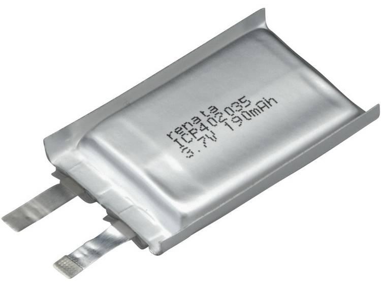 Renata ICP402035 Speciale oplaadbare batterij Prismatisch Platte stekker LiPo 3.7 V 195 mAh