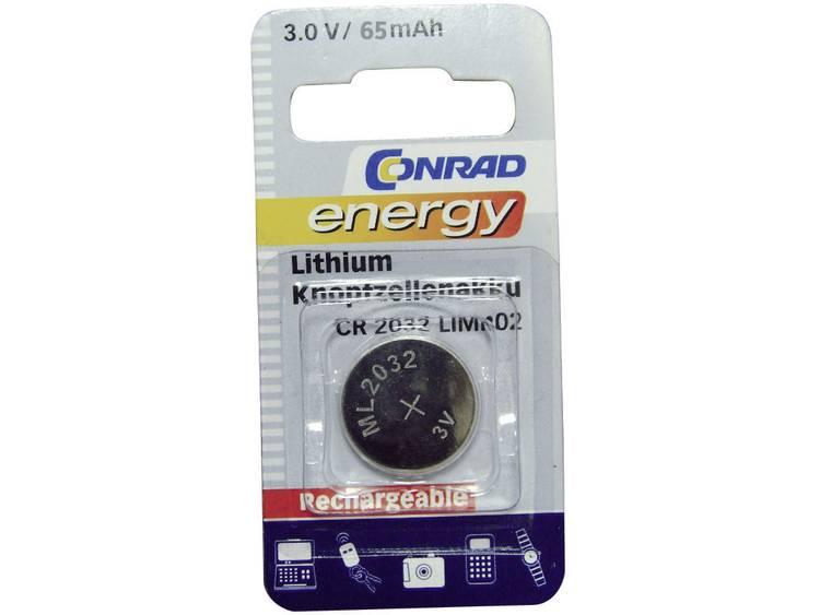 Conrad energy CR2032 Oplaadbare knoopcel ML 2032 Lithium 65 mAh 3 V 1 stuk(s)