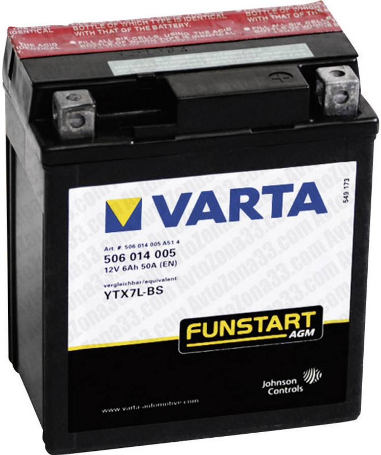 Motoraccu Varta YTX7L-4. YTX7L-BS 12 V 6 Ah ETN 506014005 Geschikt voor: Motorfietsen. Quads. Jetski. Sneeuwscooters