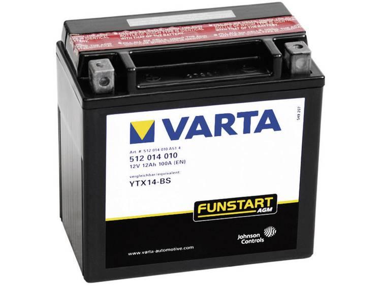 Motoraccu Varta YTX14 4, YTX14 BS 12 V 12 Ah ETN 512014010 Geschikt voor Motorfietsen, Quads, Jetski, Sneeuwscooters