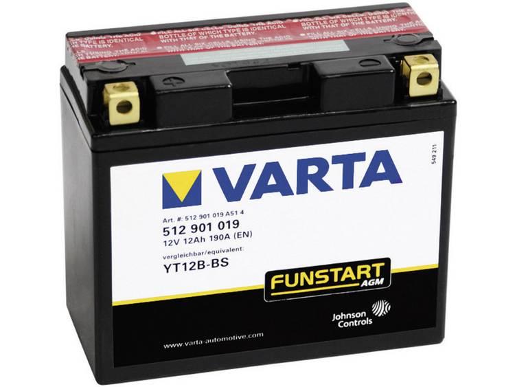 Motoraccu Varta YT12B 4, YT12B BS 12 V 12 Ah ETN 512901019 Geschikt voor Motorfietsen, Quads, Jetski, Sneeuwscooters