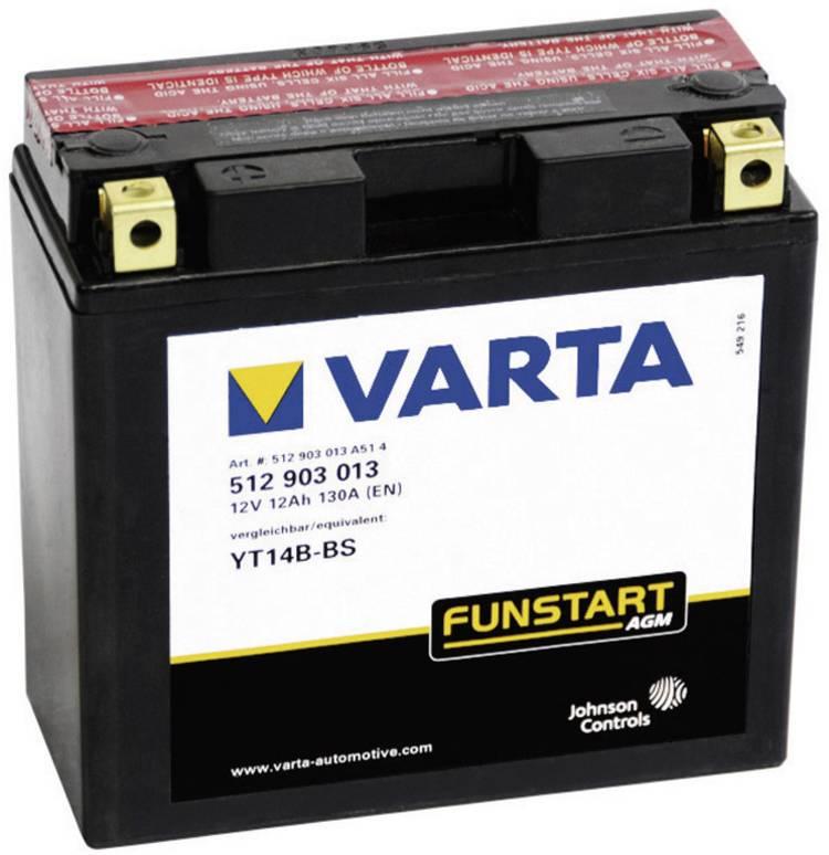 Image of Motoraccu Varta YT14B-4, YT14B-BS 12 V 13 Ah ETN 512903013 Geschikt voor model Motorfietsen, Quads, Jetski, Sneeuwscooters