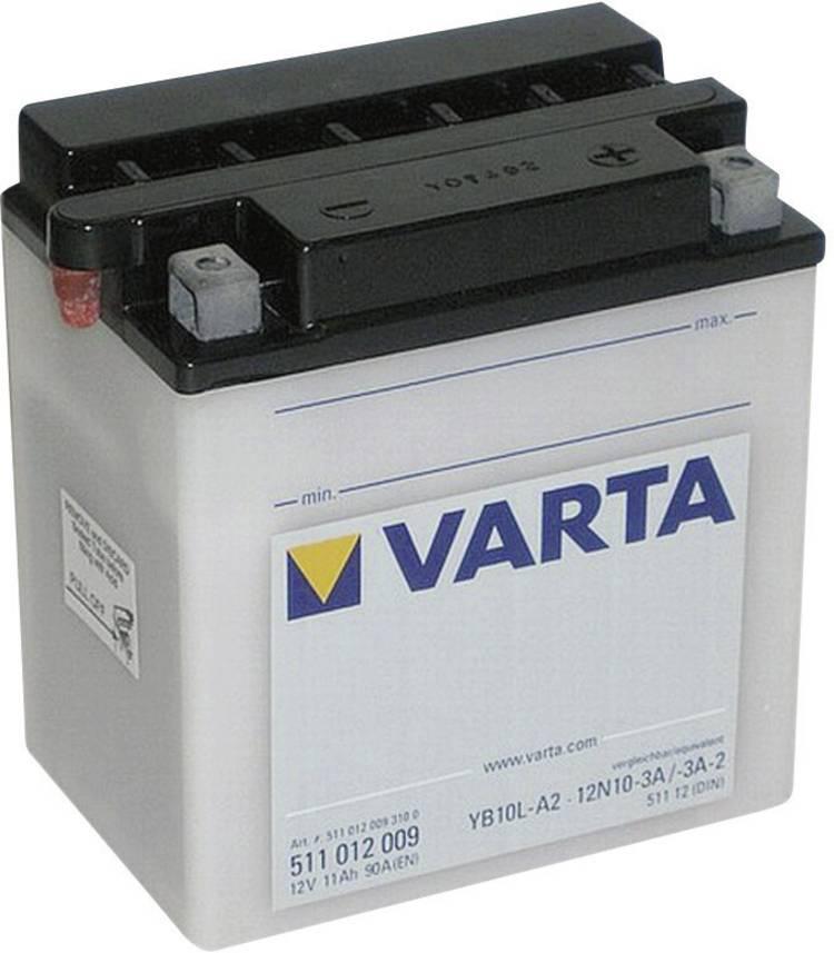 Image of Motoraccu Varta 12N10-3A, 12N10-3A-1, 12N10-3A-2, YB10L-A2 12 V 11 Ah ETN 511012009 Geschikt voor model Motorfietsen, Scooters, Quads, Jetski, Sneeuwscooters,