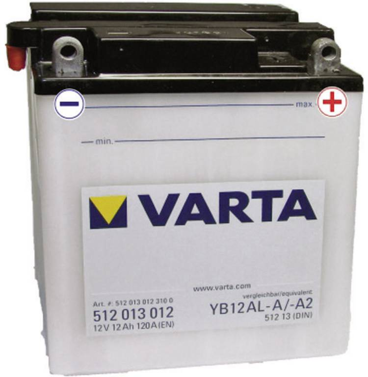 Image of Motoraccu Varta YB12AL-A, YB12AL-A2 12 V 12 Ah ETN 512013012 Geschikt voor model Motorfietsen, Scooters, Quads, Jetski, Sneeuwscooters, Zitmaaiers