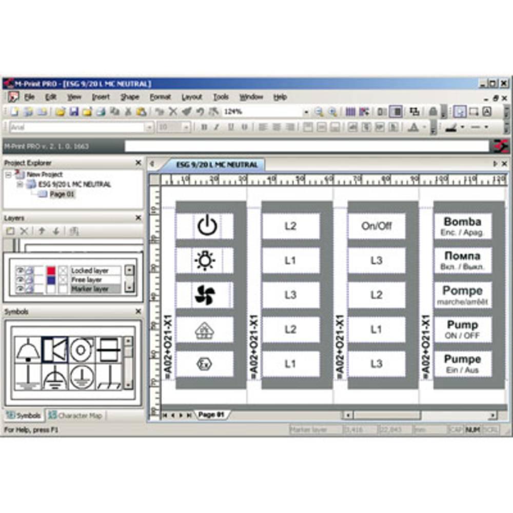 Programvara för märkning, Programvara, Windows 2000, XP, Vista, Skrivarprogram M-PRINT PRO Weidmüller 1 st