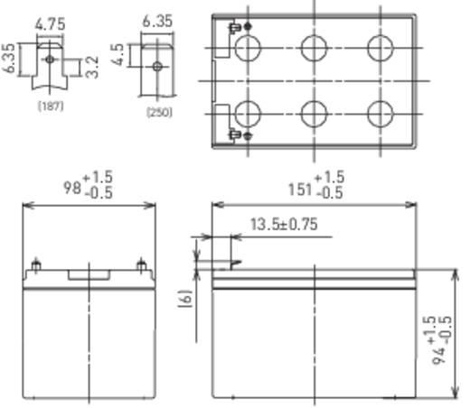 Panasonic LC-RA1212PG1 Loodaccu 12 V 12 Ah 12 V 12 Ah Loodvlies (AGM) (b x h x d) 151 x 94 x 98 mm Kabelschoen 6.35 mm V
