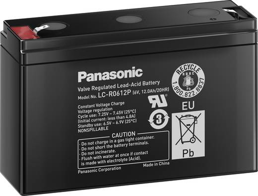 Loodaccu 6 V 12 Ah Panasonic LC-R0612P Loodvlies (AGM)