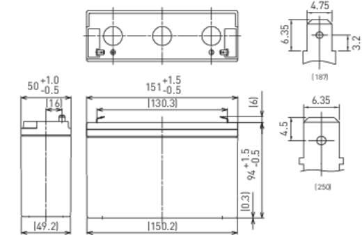 Panasonic LC-R0612P Loodaccu 6 V 12 Ah 6 V 12 Ah Loodvlies (AGM) (b x h x d) 151 x 94 x 50 mm Kabelschoen 4.8 mm Onderho