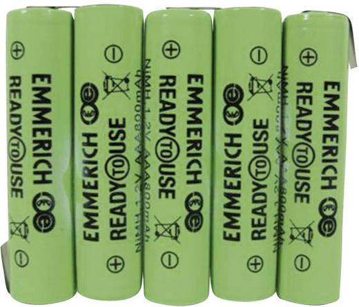NiMH Accupack 6 V 800 mAh AAA (potlood) Z-soldeerlip Emmerich ReadyToUse 5AAA-ZLF