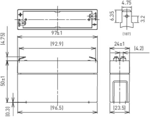 Panasonic LC-R061R3P Loodaccu 6 V 1.3 Ah LC-R061R3PG Loodvlies (AGM) (b x h x d) 97 x 50 x 24 mm Kabelschoen 4.8 mm Onderhoudsvrij