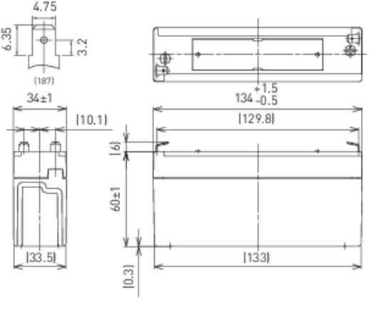 Panasonic LC-R063R4P Loodaccu 6 V 3.4 Ah LC-R063R4P Loodvlies (AGM) (b x h x d) 134 x 60 x 34 mm Kabelschoen 4.8 mm Onderhoudsvrij