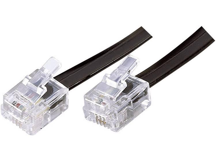 Western Kabel [1x RJ-stekker 6p4c - 1x RJ-stekker 6p4c] 3 m Zwart Basetech