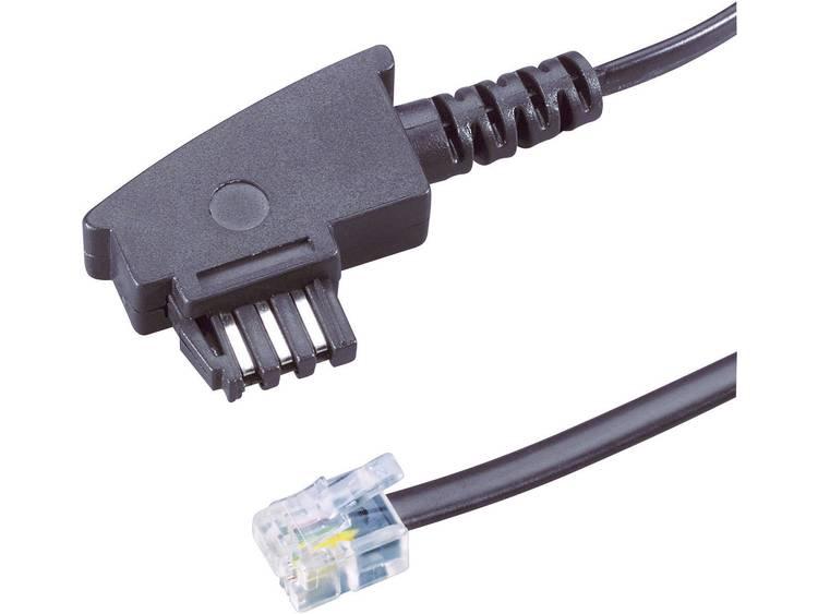 Fax Kabel [1x Telefoonstekker Duitsland (TAE-N) - 1x RJ-stekker 6p4c] 6 m Zwart Basetech