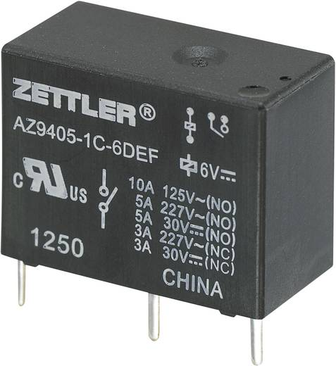 Zettler Electronics AZ9405-1C-12DEF Printrelais 12 V/DC 10 A 1x wisselaar 1 stuks