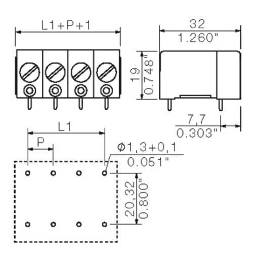 Klemschroefblok 10.00 mm² Aantal polen 4 GSE 10/4/180 4.5GR Weidmüller Grijs 20 stuks