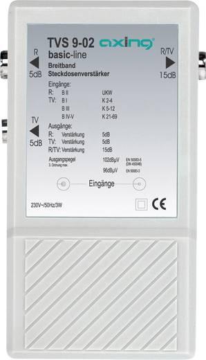 Breedband-contactdoosversterker TVS 9 Versterking: 2 x 5 dB voor radio + TV en 1 x 15 dB voor R/TV