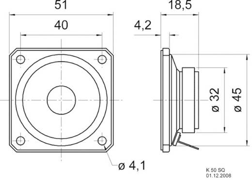 Breedband-luidsprekerchassis 2 inch Visaton K 50 SQ 2 W 8 Ω
