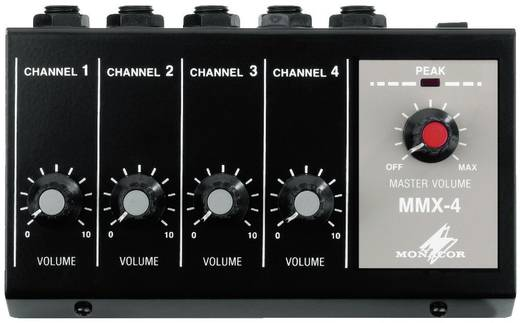 4-kanaals Microfoonmengpaneel Monacor MMX-4